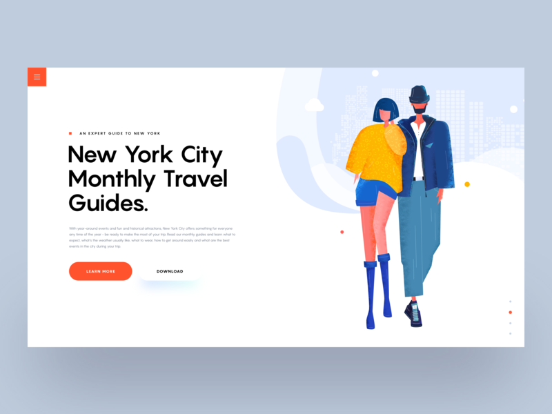 New York City Travel Guides :: Illustration ui design clean design tranmautritam creative article guide travel guide travel blogger travel blog creative blog blog landing page ui designers ui designer illustration ui character character concept illustrator illustration