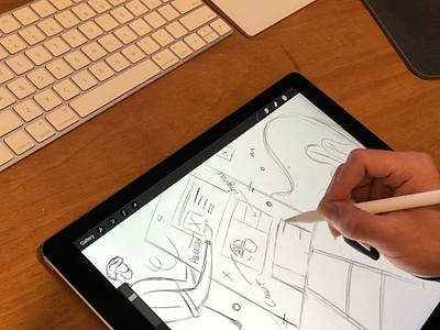 Sketching in Procreate pencil simple sketch process illustrator ui designers ui designer chatacter sketch procreate ipad pro 2d illustration illustration