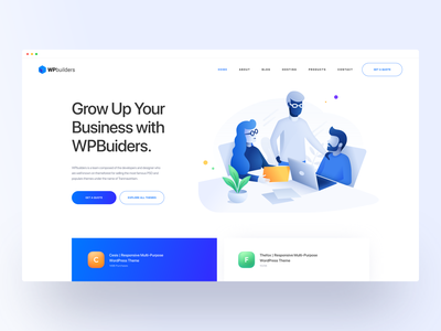 WPBuilders :: Header clean ui design web design creative minimal tranmautritam illustration business wordpress theme web designer web developer wordpress development themeforest envato clean web design landing page hero header business landing page template