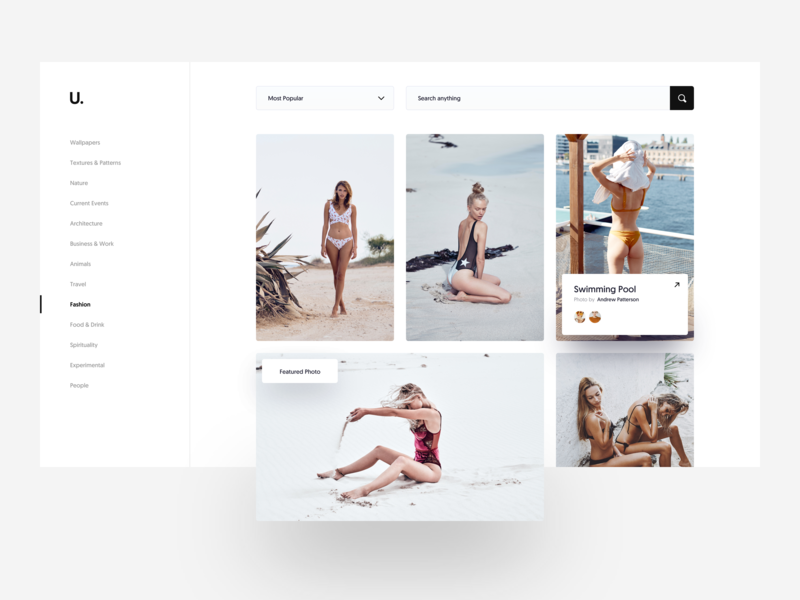 U. :: Photo Collections envato themeforest creative layout white layout dropdown search hover style hover popup menu sidebar photography clean layout card design card minimal creative web design ui design clean