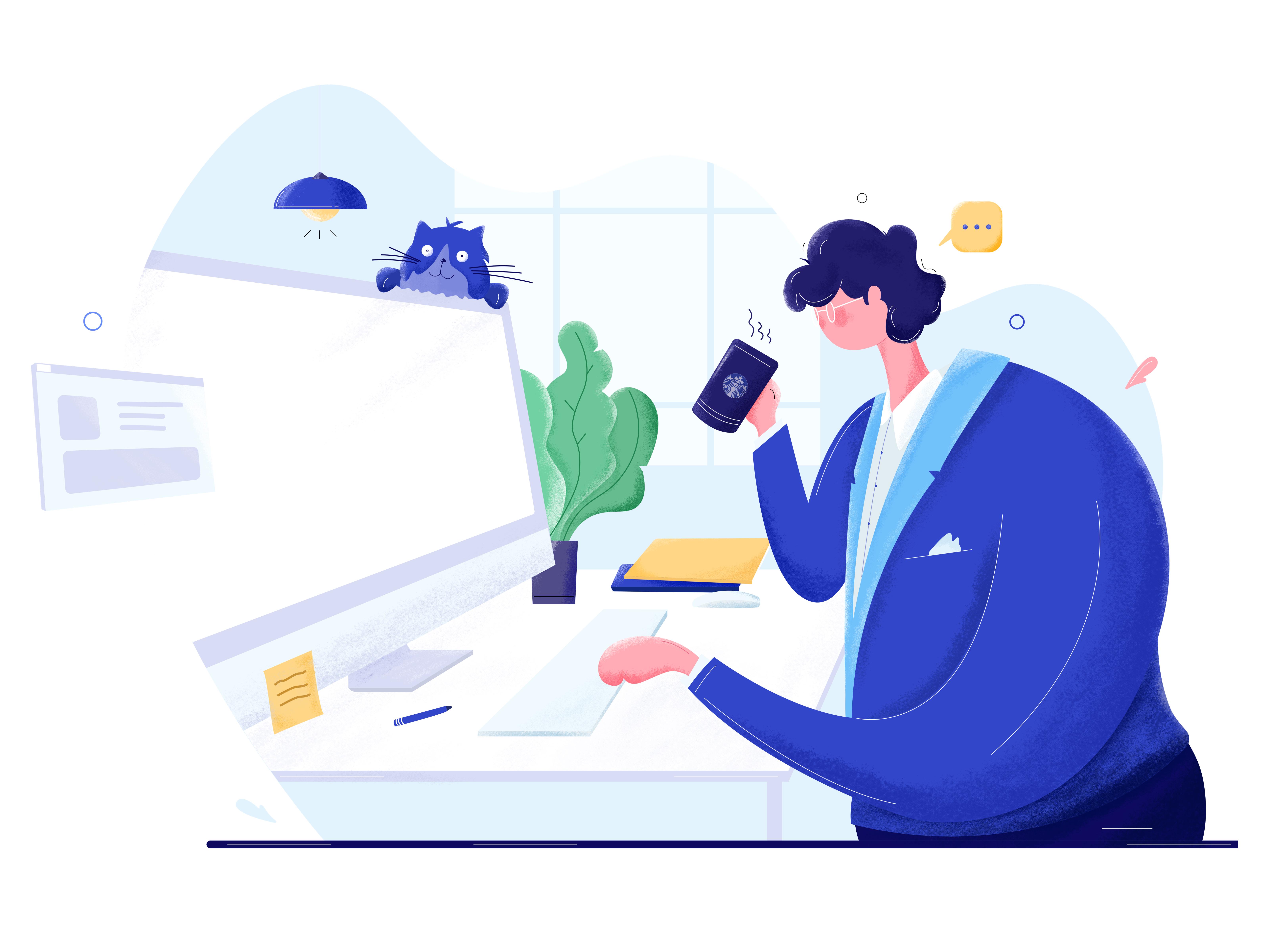 Working   illustration by tran mau tri tam big