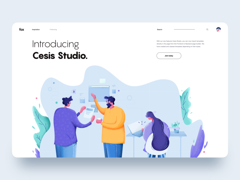 Team Work :: Illustration :: Cesis Studio themeforest theme website wordpress development product design design development developer designer man woman illustrator affinity designer character illustration tranmautritam creative web design clean ui design