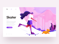 Skater :: Illustration :: UI Design theme modern skateboard skateboarding skater sport purple pink cloud city building girl woman pet pig illustration tranmautritam minimal web design ui design