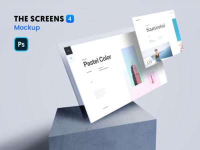 The Screens 4 - Free PSD Mockup Template
