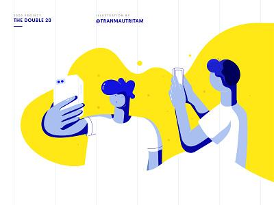 Illustration #1 tranmautritam adobe illustrator new year the double 20 2020 color due tone duotones blue yellow boy guy man take photo take picture selfie characters design characters character illustration