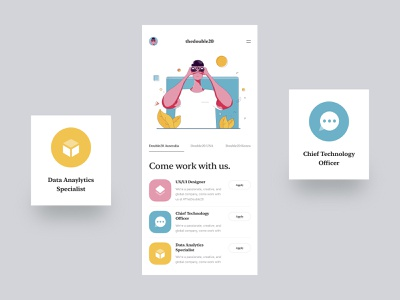 The Double 20 :: Careers Mobile App Concept clean app app concept mobile ui concept shapes color inspiration icons apply new app the double 20 tranmautritam illustrator recruitment career app careers vision illustration product design mobile app mobile ui mobile