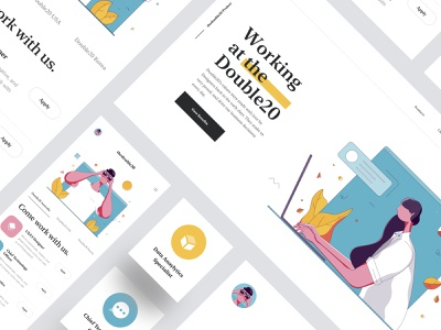 Careers - Website Banner - Illustration Concept wordpress theme business working computer shadow typography flat design creative product mobile app call to action character design user interface ui clean illustration tranmautritam minimal creative ui design