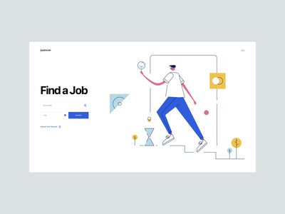 Find A Job - Flat Line Illustration user interface ui designer search box job search careers job character design illustrator typography geometric line illustration flat line illustration flat line illustration tranmautritam minimal creative web design clean ui design