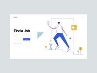 Find A Job - Flat Line Illustration