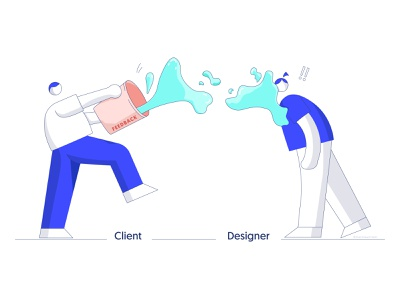 Client & Designer cute lovely funny water ui designer ux designer web designers clients feedback bucket designers design fun meme illustrator character illustrations designer client client and designer illustration