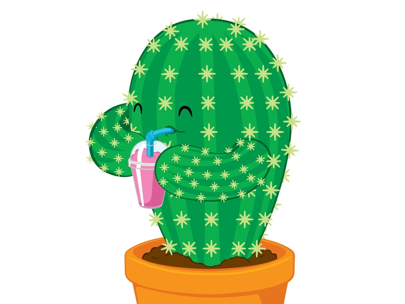 Thirsty Cactus drawing vector frozen drink slushie drinking thirsty cacti cactus