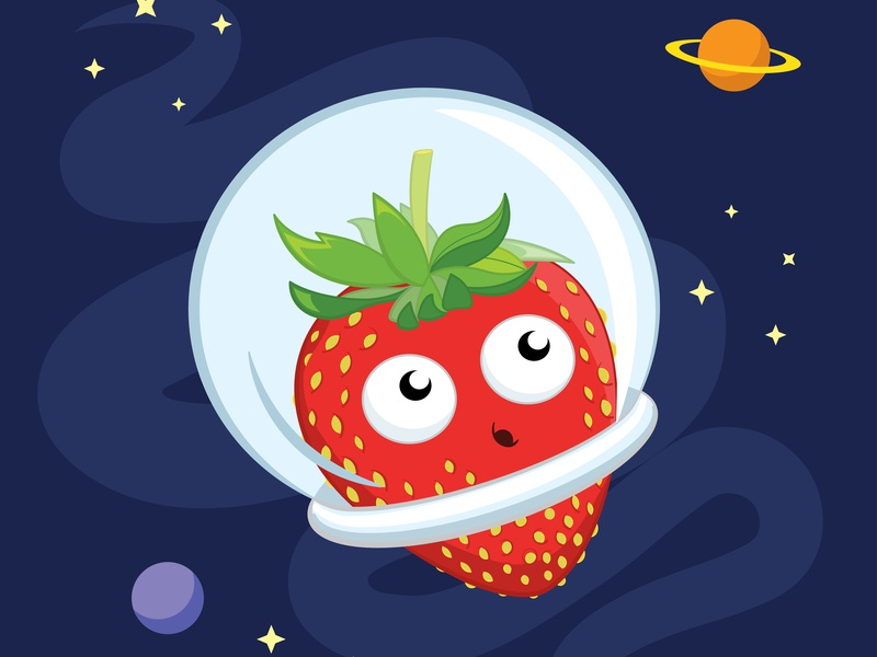 Spacey Strawberry space cute strawberry illustration design vector drawing