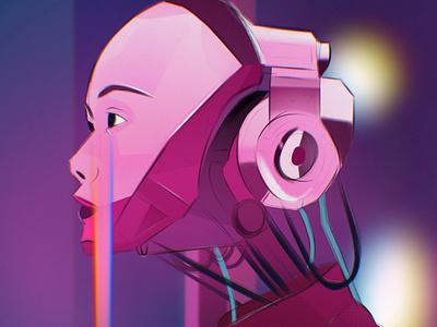 Cyborgs color pink creative scifi digital illustration 80s style 90s procreate character design art illustration art artwork illustration