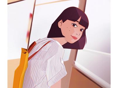 Girl procreate character characterdesign 90s 80s style design digitalart illustration art artwork illustration