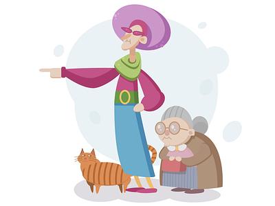 Grannies character cartoon character cartoon cat gnadma granny illustration illustrator