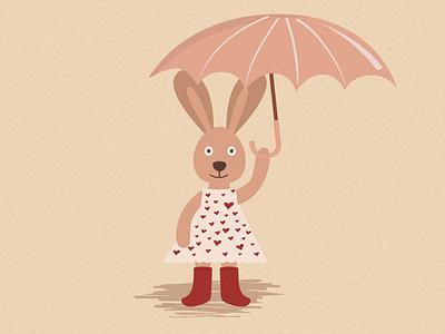 Vintage Rabbit rabbidesigner illustration art vintage pastel color umbrella rabbit illustration