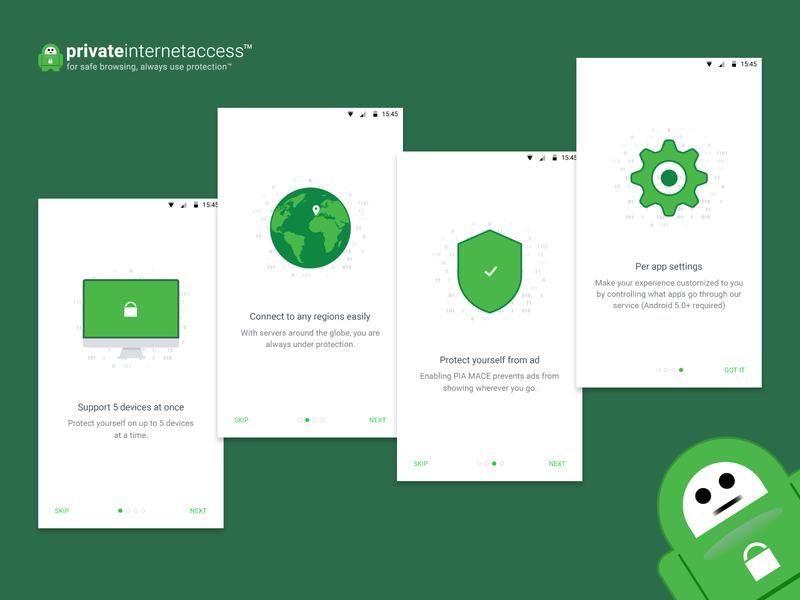 Private Internet Access VPN android walkthrough android vector vpn app vpn design illustration minimal app ux ui