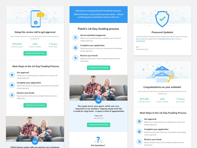 Patch Email Templates illustraion web funding homeequity homeowner email templates welcome email estimate password setup review email marketing email design ux ui minimal design