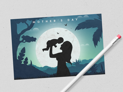 Mothers Day Postcard caring graphic flat design child planet weekly challenge weeklywarmup love illustration 2d texture mother mothers day may warmup minimal