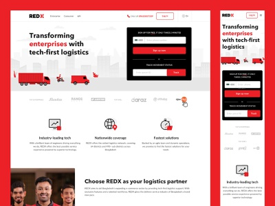 REDX Homepage Redesign logistics parcel bangladesh delivery conversion rate optimization minimal flat uiux illustration design website digital clean website design homepage web page