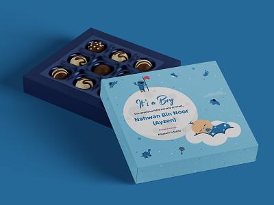 Sweet box packaging design fun cute baby in cloud baby boy design vector illustration flat packaging sweet box