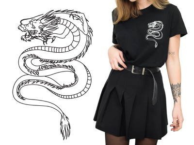 Japanese Dragon product design vector illustration vector art lineart minimal apparel design apparel apparel graphics illustration vector