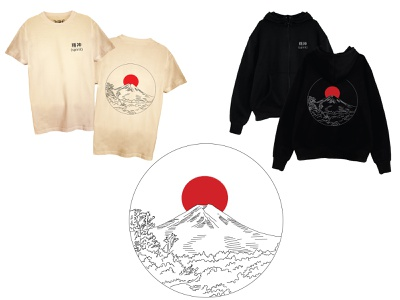 Fuji Mt. vector illustration japan lineart minimal apparel design apparel illustration vector apparel graphics design