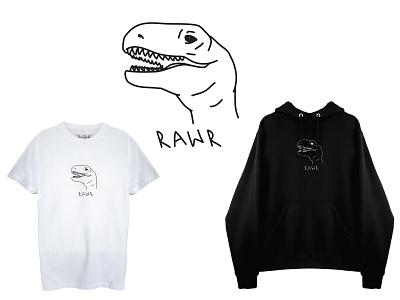 RAWR apparel graphics vector illustration vector art lineart minimal apparel design apparel design vector illustration dino drawing dinosaur