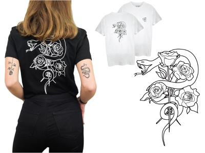 Snake&Roses vector art linework vector illustration minimal lineart drawing apparel design vector illustration roses snake