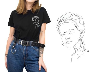 Frida linework vector illustration design minimal lineart apparel graphics apparel apparel design vector illustration fridakahlo frida
