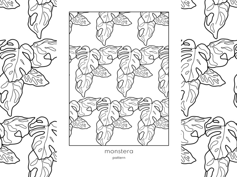 monstera pattern drawing vector art linework vector illustration pattern design pattern art pattern vector design minimal lineart illustration