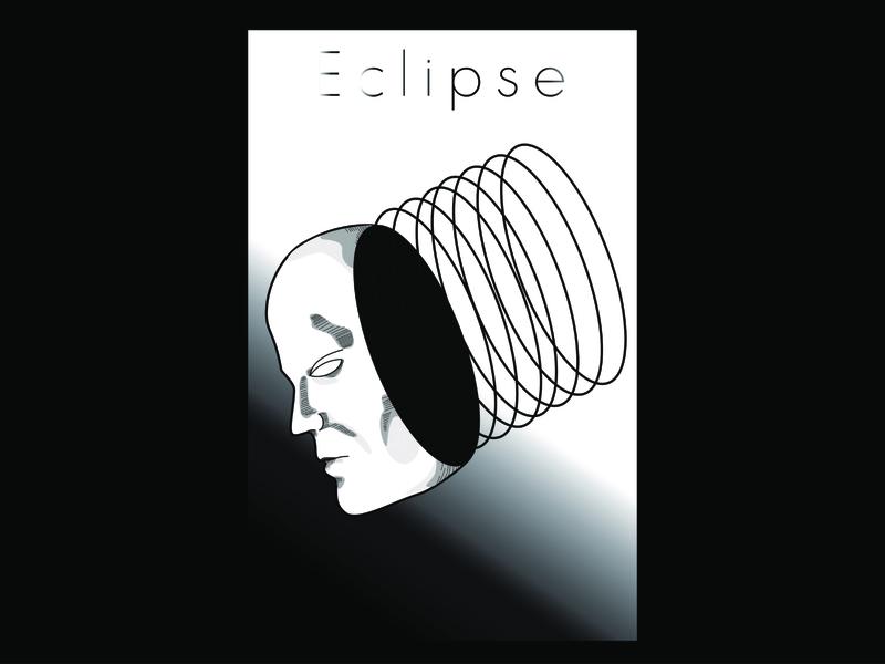 Eclipse surrealism vector illustration black and white minimalistic design poster poster design linework lineart minimal vector illustration