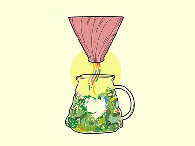 DRIP V60 vector illustration design floral design colorful flora plants poster art poster design coffee lover drip coffee floral poster vector illustration