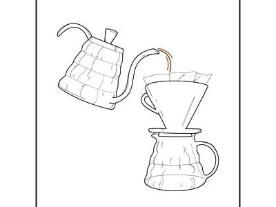 Drip V60 Ad minimalistic poster linework drawing illustration lineart design minimal vector vector illustration