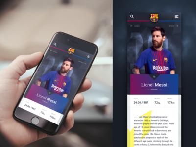 Barcelona FC  - Player Profile biography stats profile ui mobile messi football