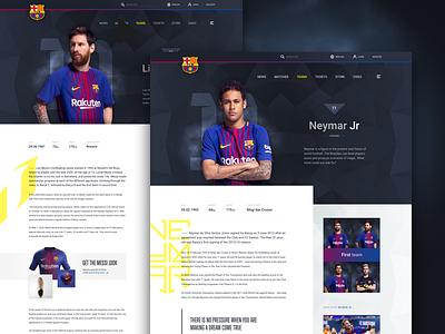 Barcelona FC -  Player Profile (desktop) ui stats profile mobile messi football biography