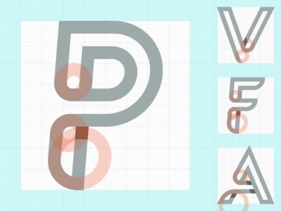 WIP logo forms stroke italic shadow loop logo