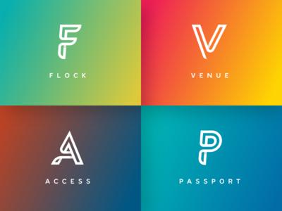 WIP logo concepts stroke shadow loop gradient logo