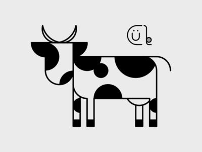 Cow animal illustrator cule affinitydesigner goldenratio concept holstein cow vector minimal logo kawaii flat design art
