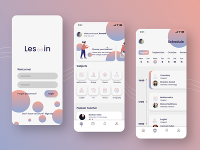'Les-in' - Private Lesson Mobile App Exploration minimalist schedule ios iphone x course education mobile app ux ui