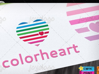 Abstract Colorful Basic Lines Love Heart Logo Template