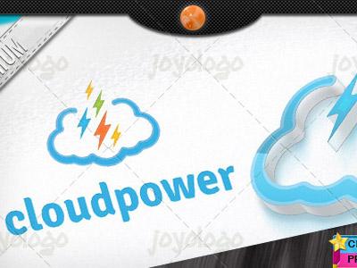 Pixel Thunders Flash Power Cloud Logo Template