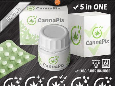 Cannabis Leafly Medical Marijuana Logo Design Template