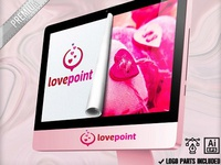 Pixel Hearts Point Love Romantic Logo Design