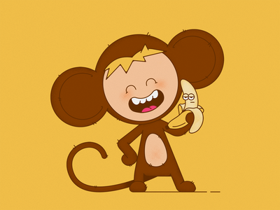 Monkey flat monkey animals 2d illustration character character design