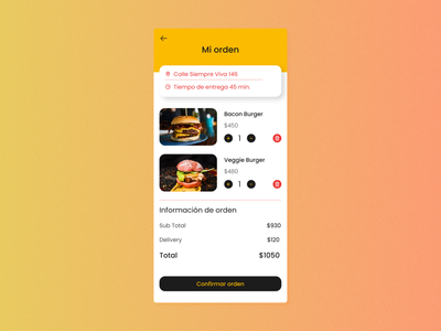 Maratón UI #12 - Shopping Cart uidesign userinterface design ui cart shoppingcart hamburger app appdesign dailyui dailyui58