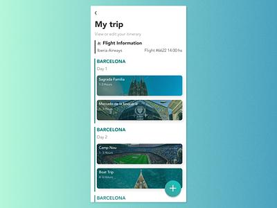 Maratón UI #14 - Itinerary userinterfacedesign uidesign appdesign dailyui79 dailyui itinerary travel app ui design