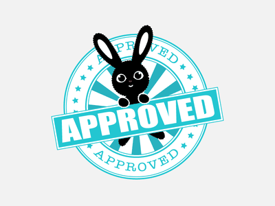 Approved Stamp corabbit flat illustration icon stamp