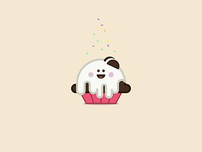 Oreo Cupcake icon flat character illustration food cupcake sprinkle oreo