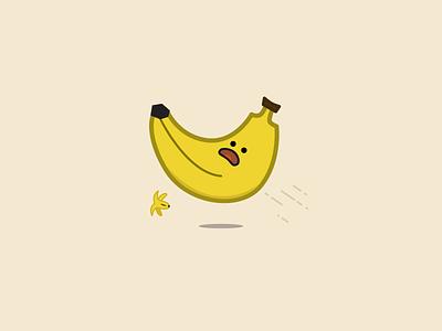 Banana Slip icon flat character illustration food banana peel slip